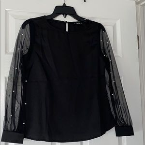 Shein Black blouse with sheer pearls.